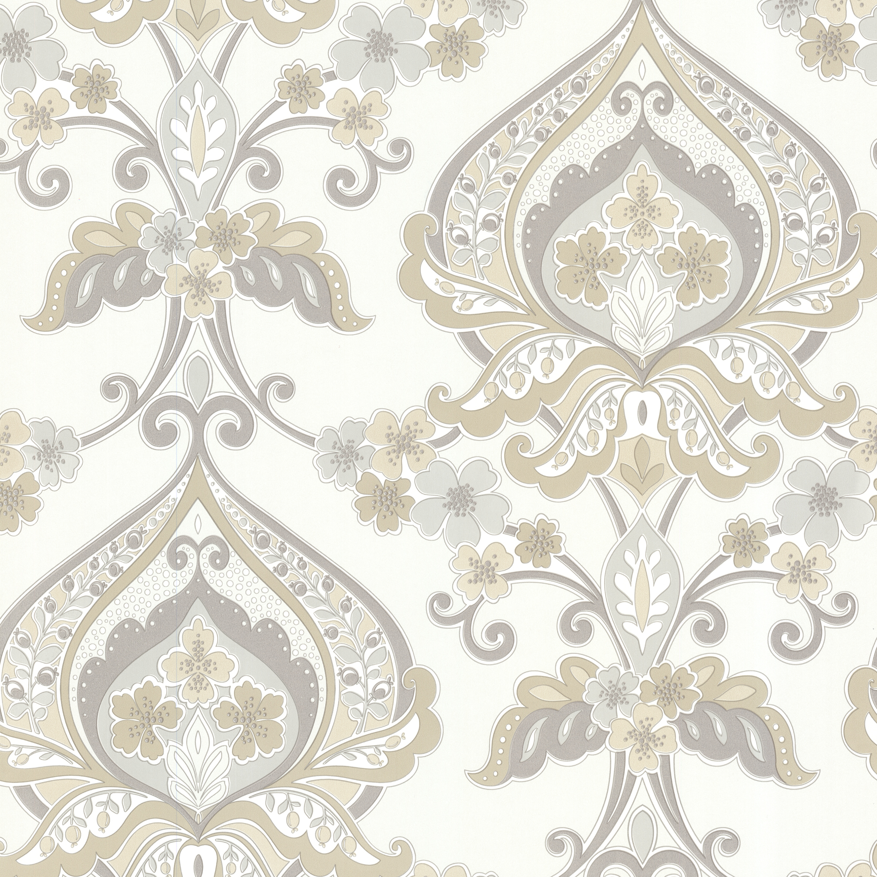 Picture of Ashbury Taupe Paisley Damask Wallpaper