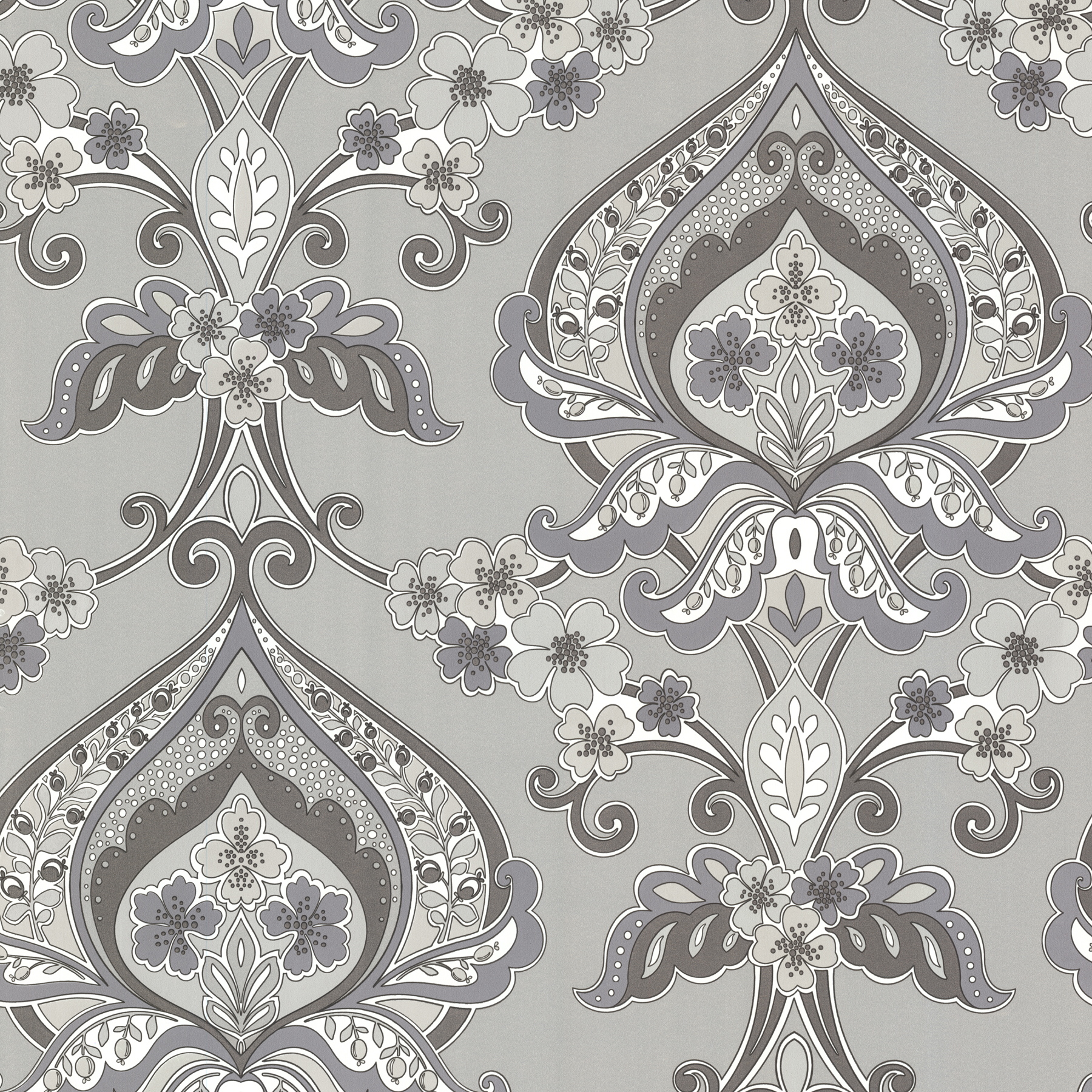 Picture of Ashbury Grey Paisley Damask Wallpaper