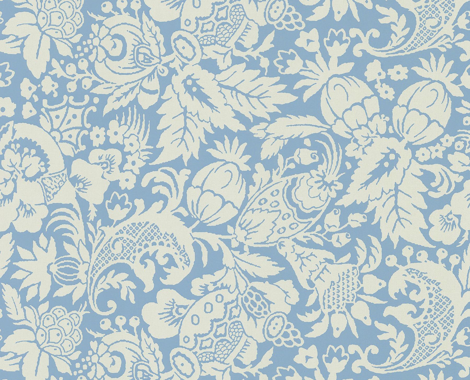 Picture of Bali Blue Scrolling Pattern Wallpaper