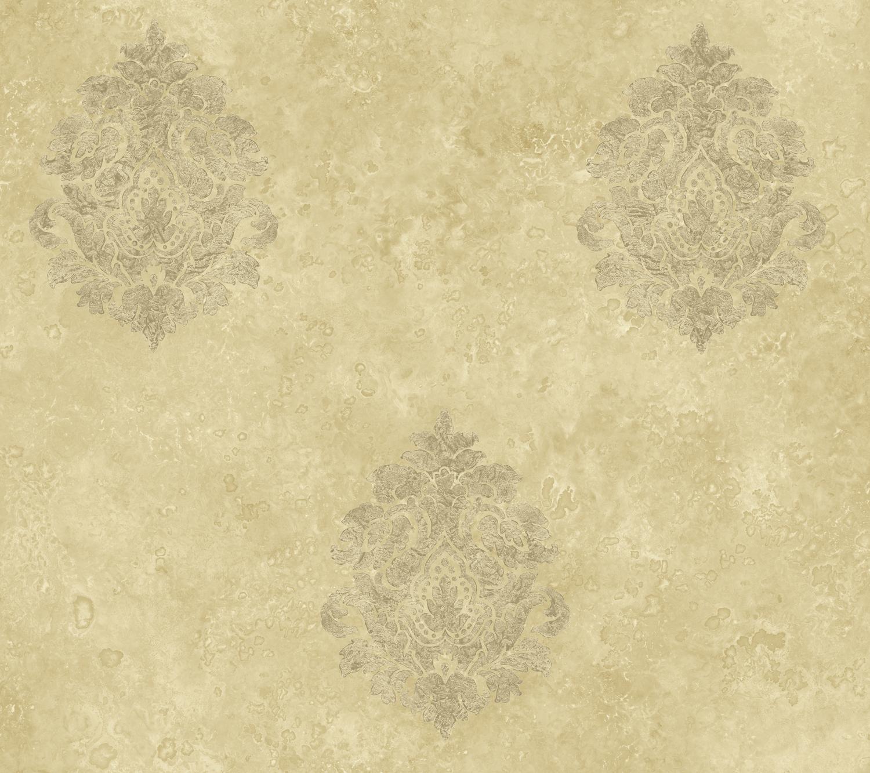 Picture of Baroque Damask Khaki Wallpaper