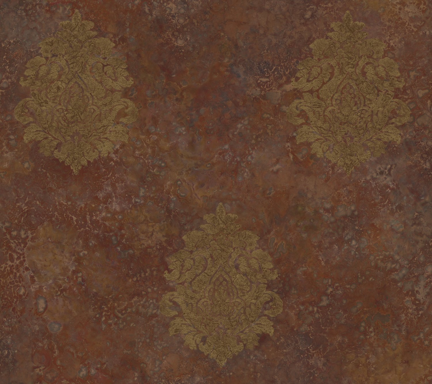 Picture of Baroque Damask Burnt Sienna Wallpaper