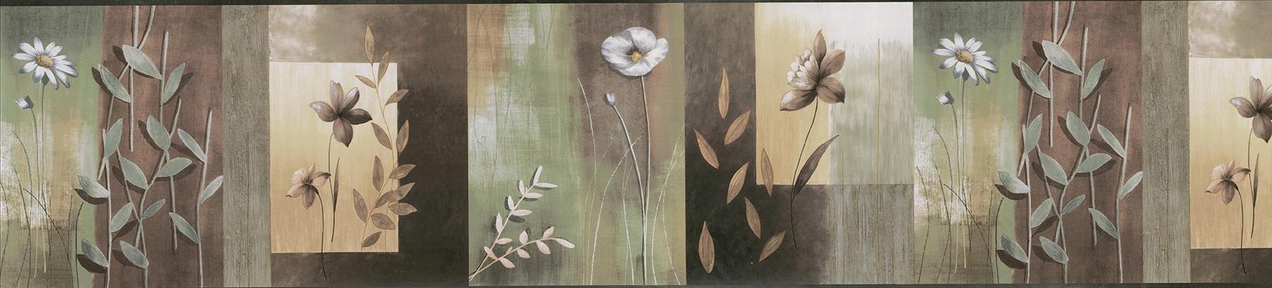Picture of Bonnard Olive Floral Color Block Border