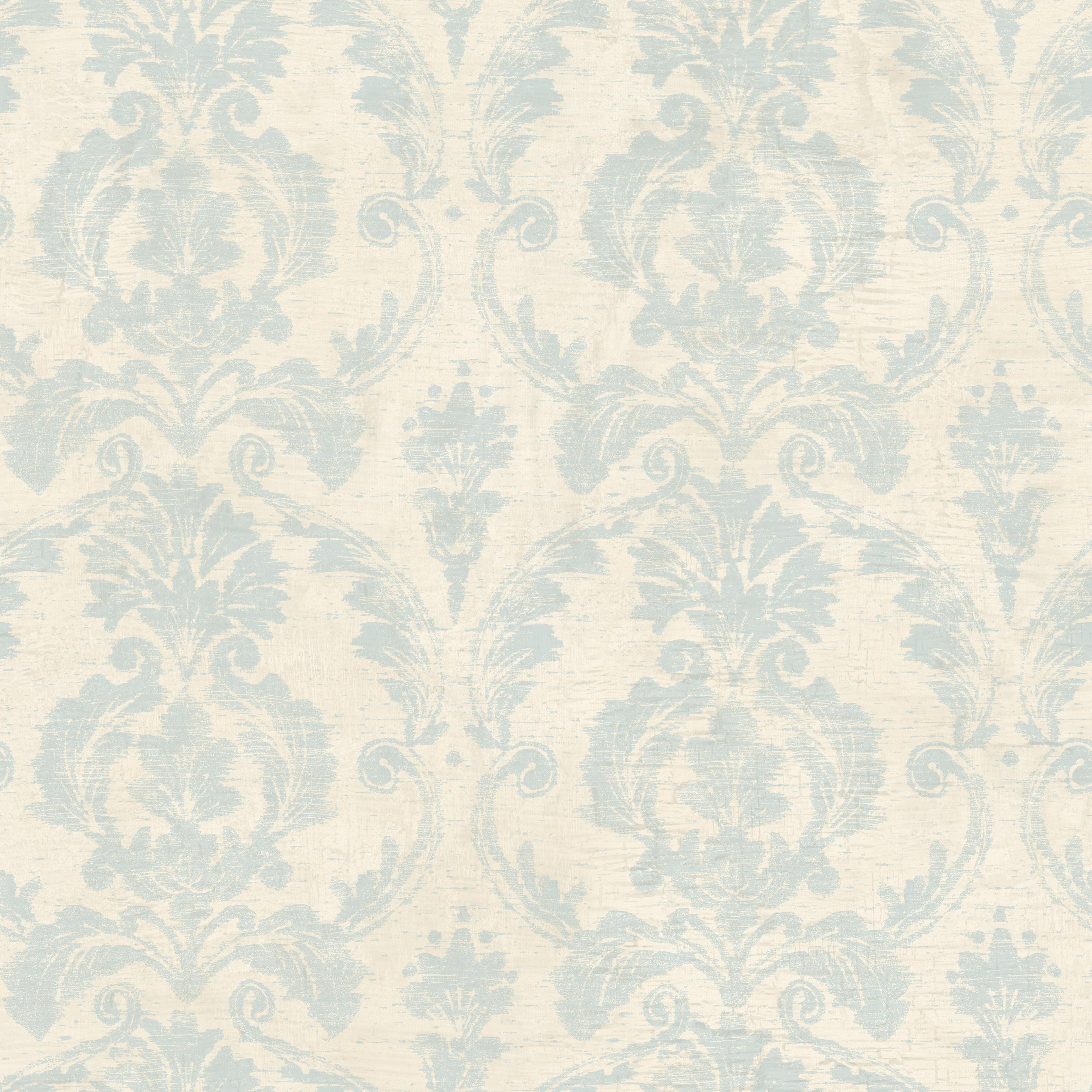 Picture of Bristol Blue Torch Damask Wallpaper Wallpaper