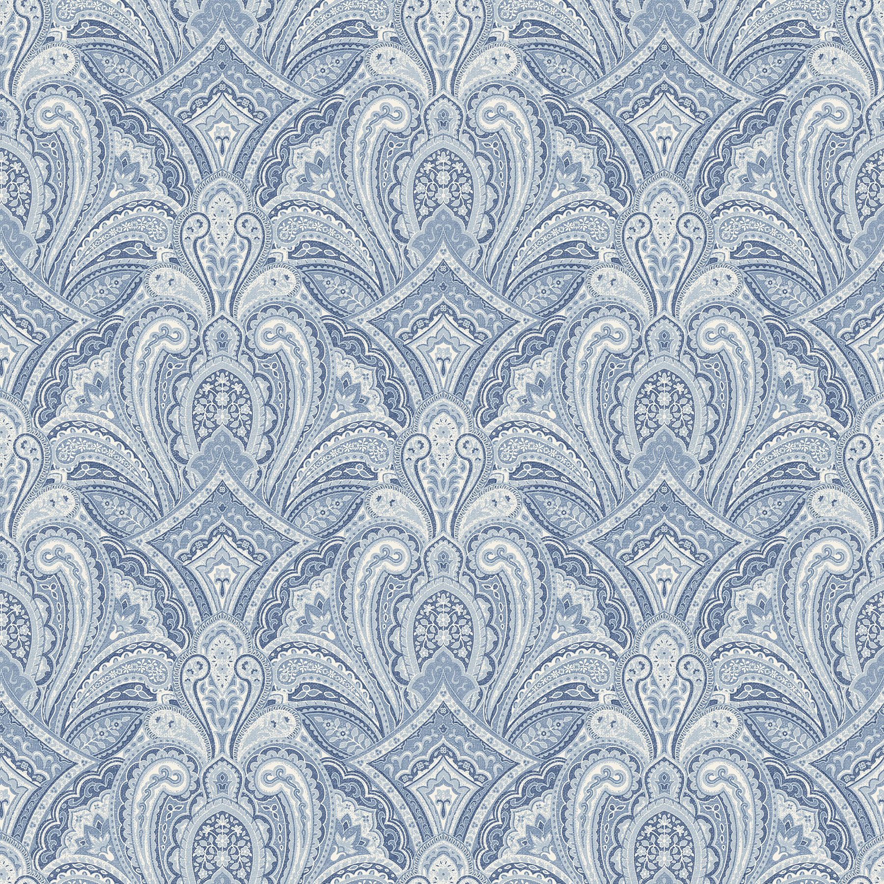 Picture of Barnes Blue Paisley Damask Wallpaper