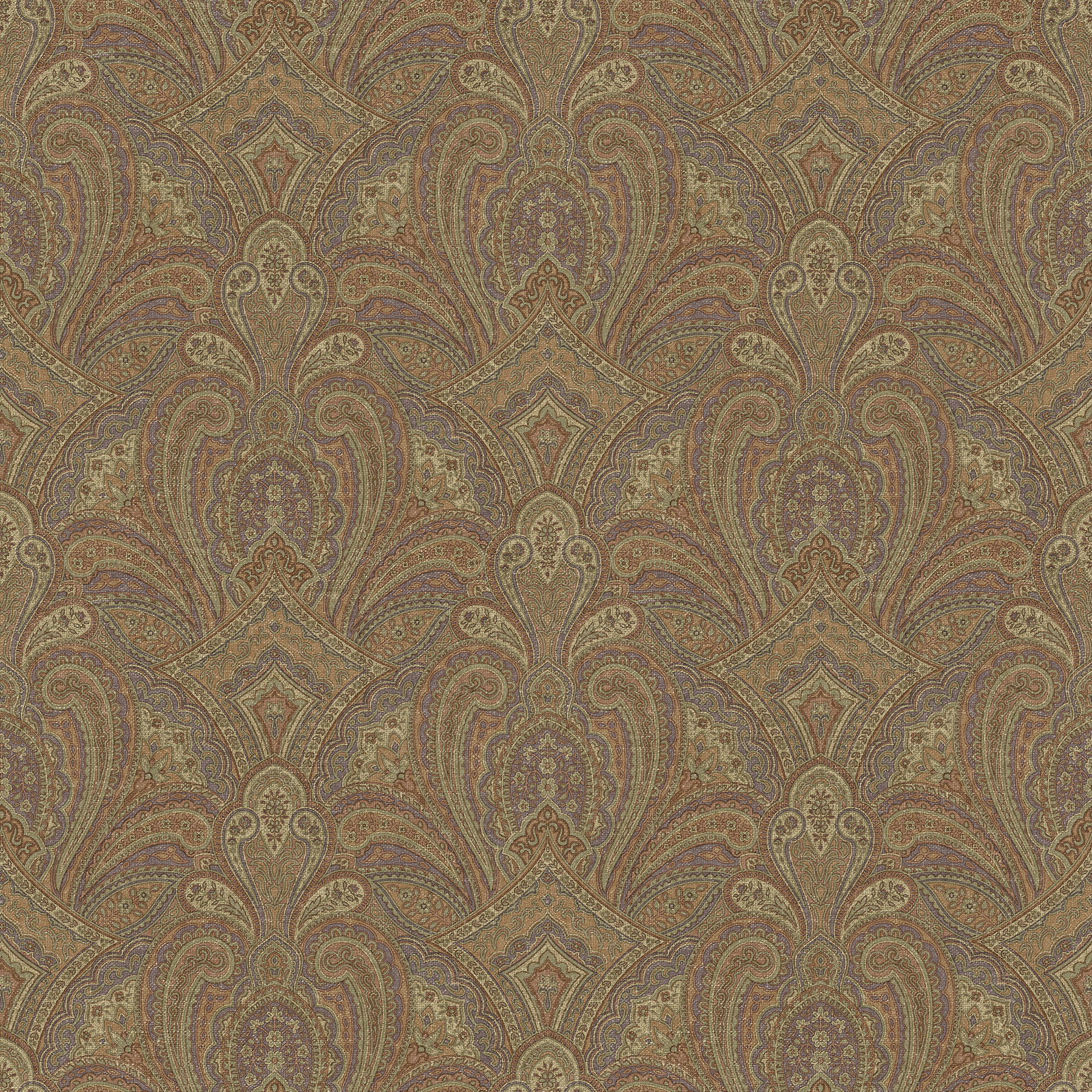 Picture of Barnes Rust Paisley Damask Wallpaper