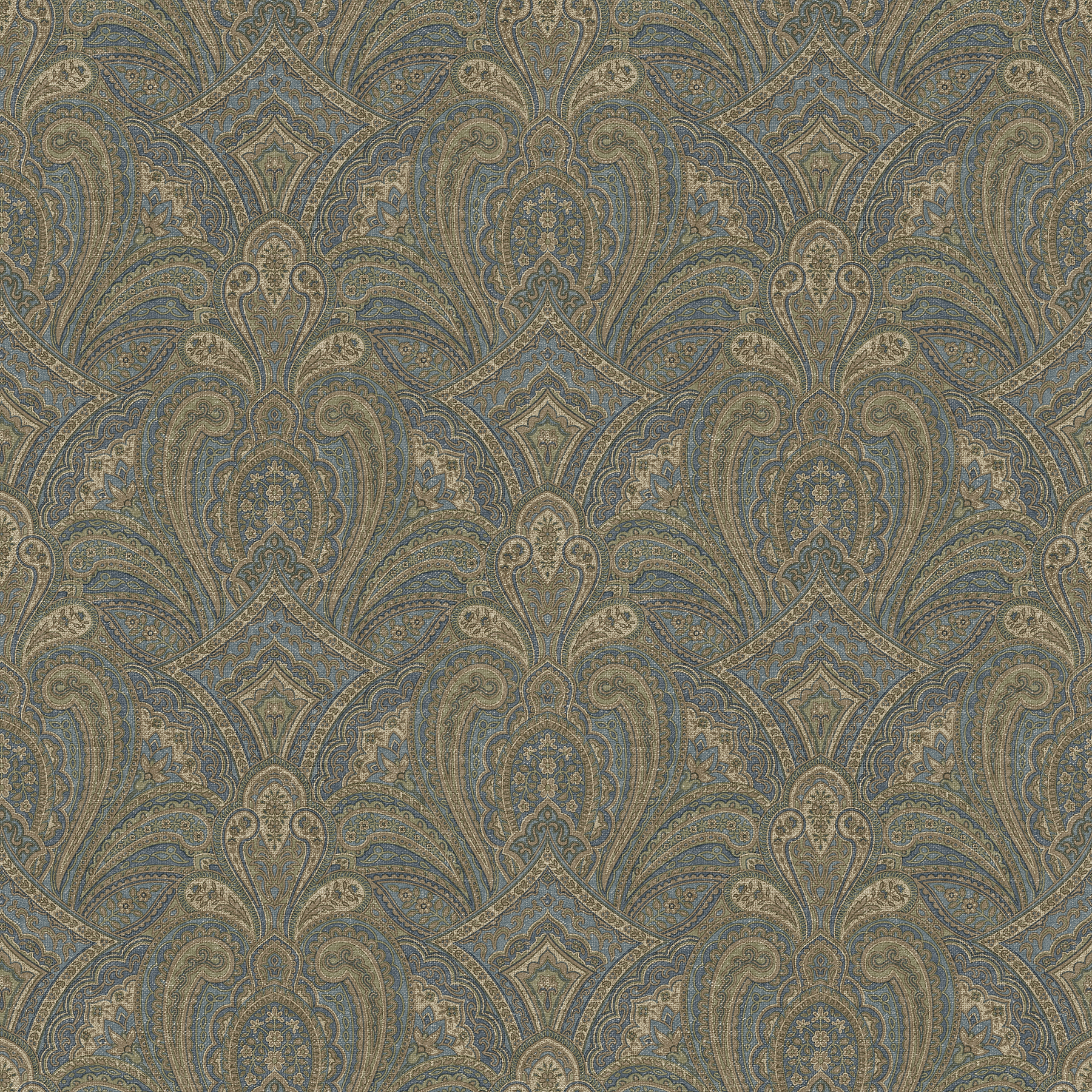 Picture of Barnes Navy Paisley Damask Wallpaper
