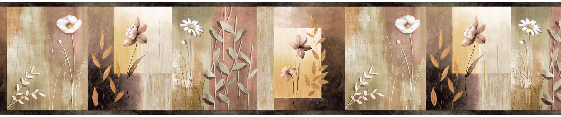 Picture of Bonnard Olive Colorblock Floral Border