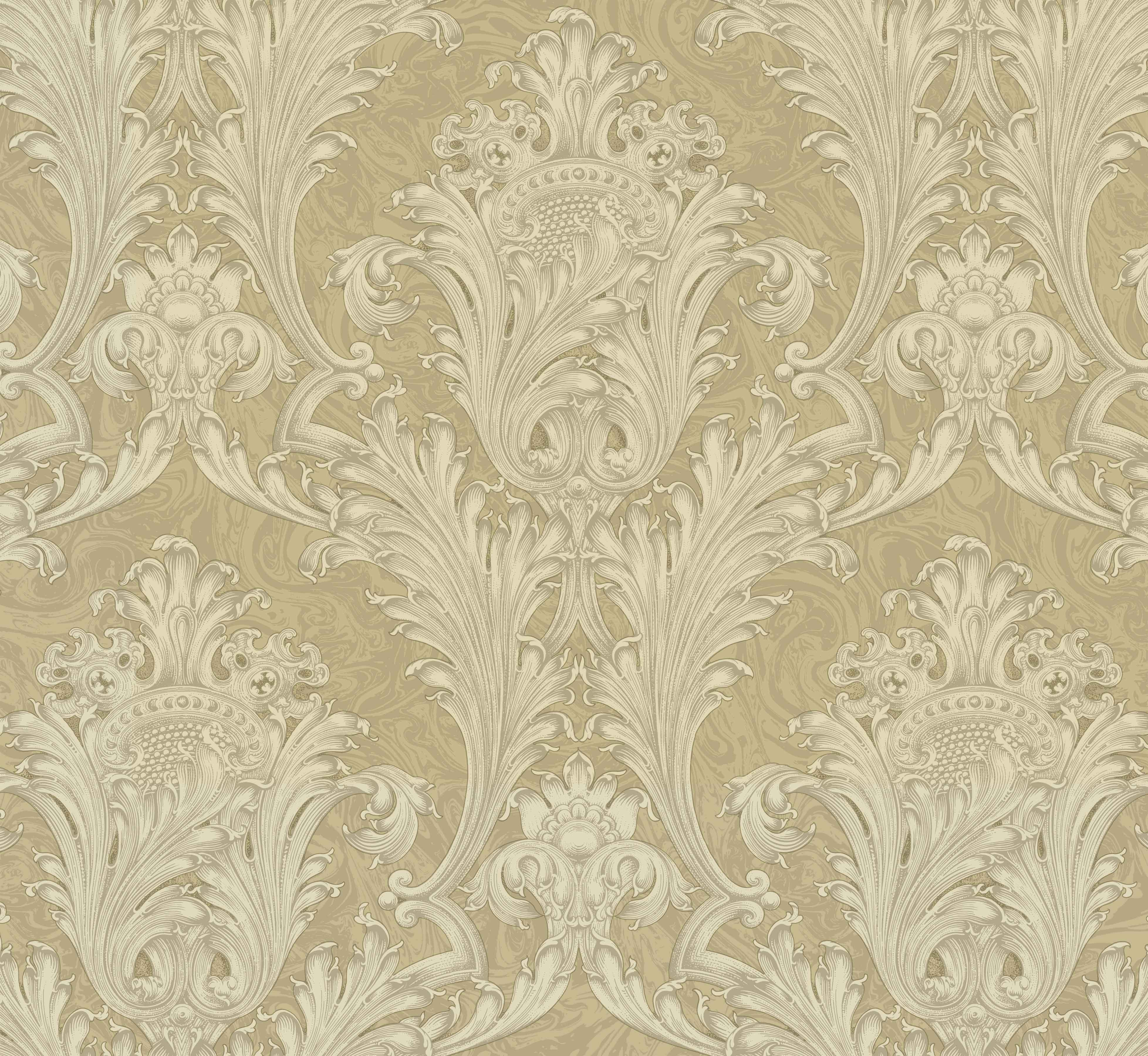 Picture of Beige Archer Acanthus Wallpaper