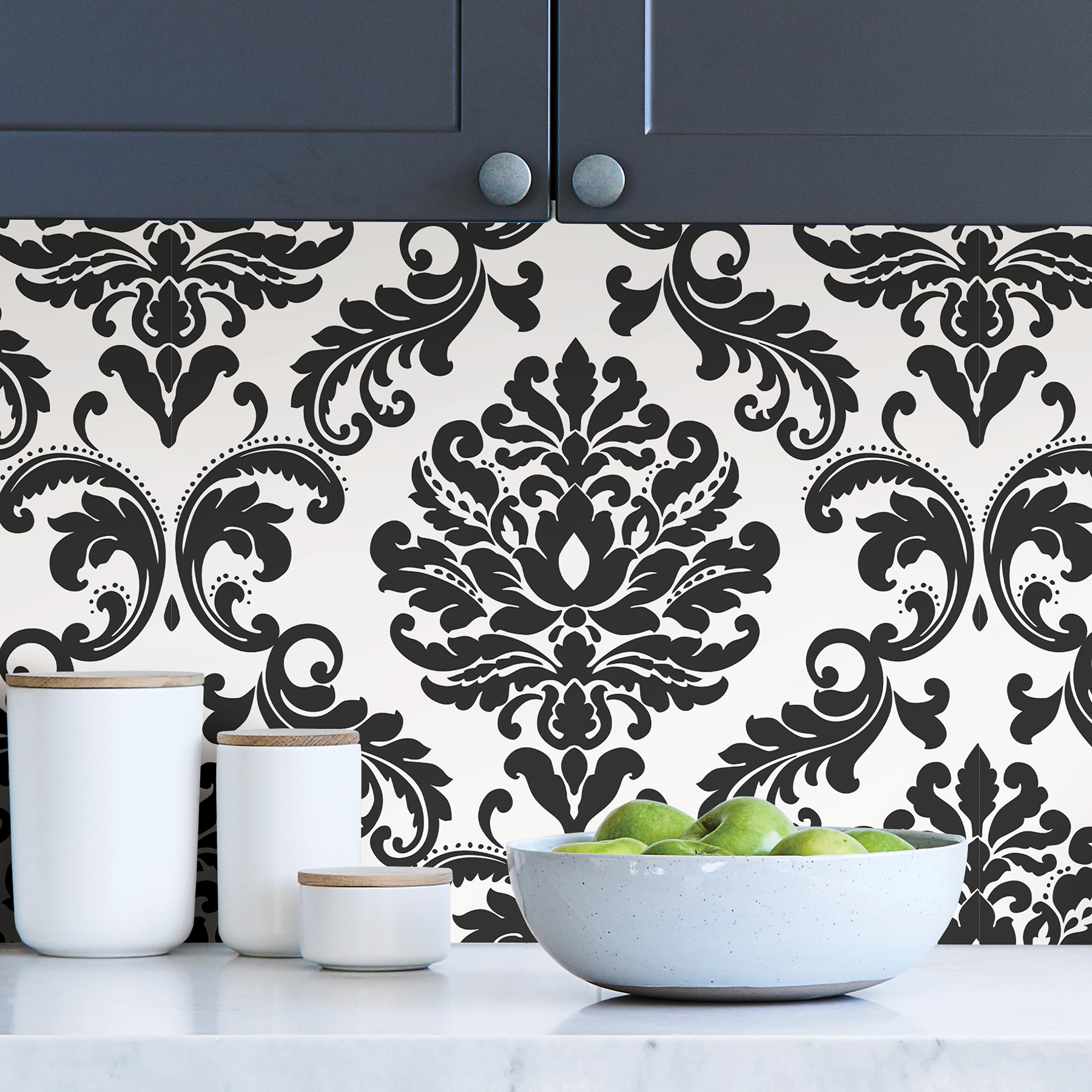 Picture of Ariel Black and White Damask Peel & Stick Wallpaper