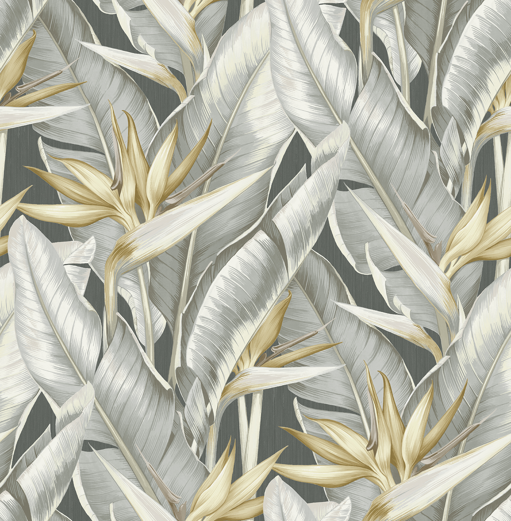 Picture of Arcadia Grey Banana Leaf Wallpaper
