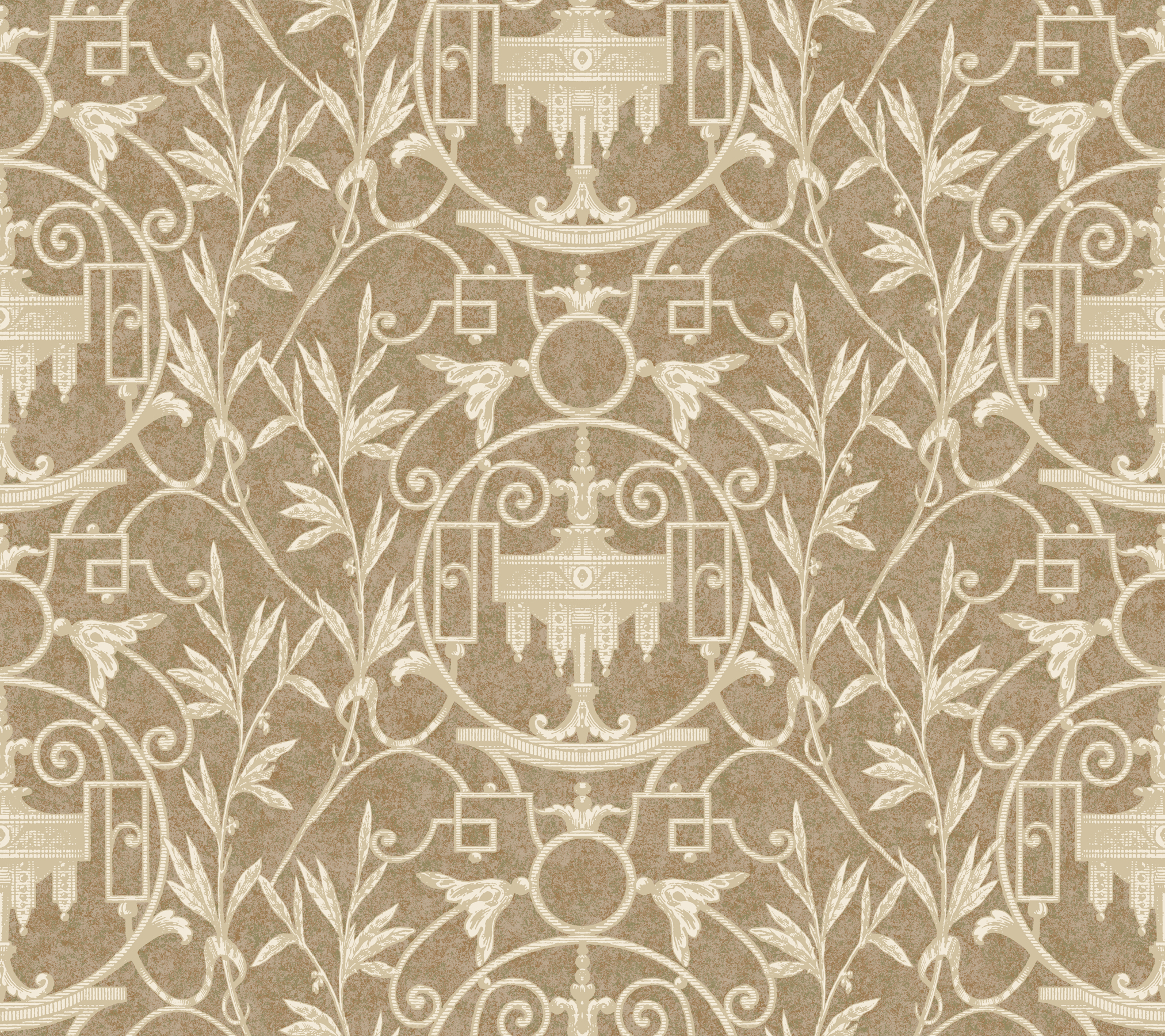 Picture of Brown Asti Ironwork Wallpaper
