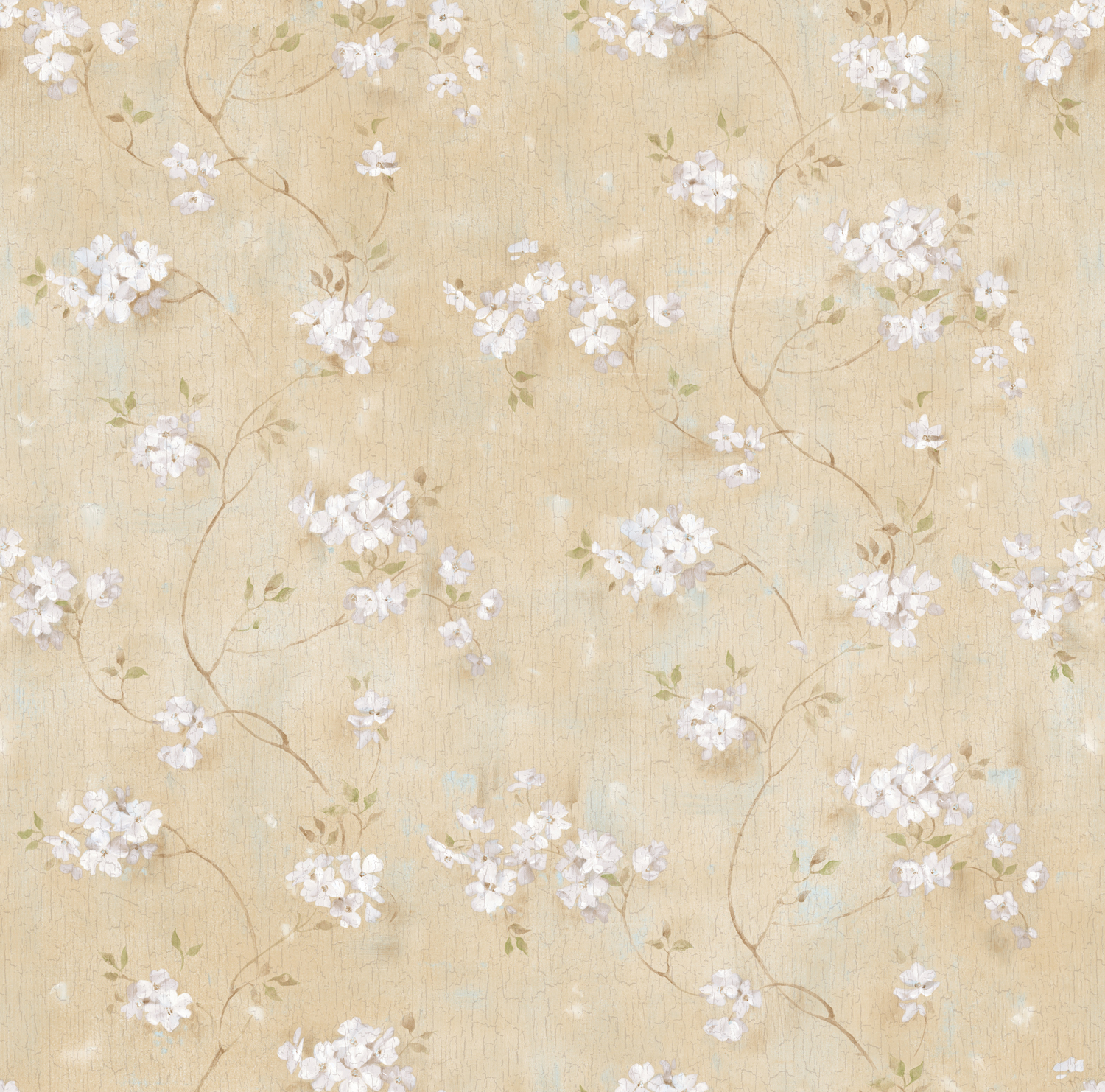 Picture of Braham Sand Country Floral Scroll Wallpaper