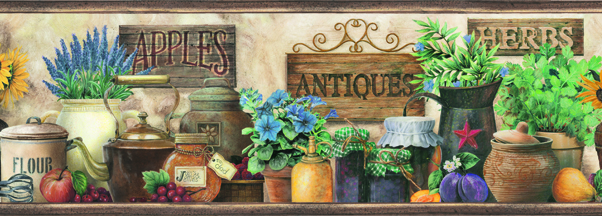 Picture of Brittany Black Herbs Antiques Portrait Border