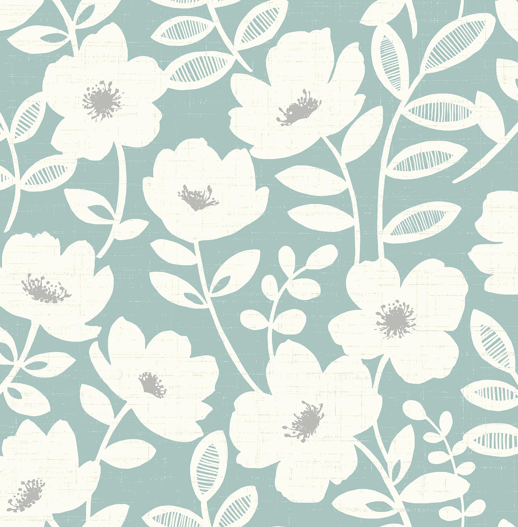 Picture of Bergman Teal Scandi Flower Wallpaper